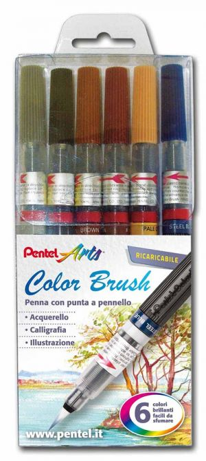 Color Brush - Penne con Punta a Pennello - Ricaricabili - set 6 colori brillanti - Scuri - art. 0100886 GLF - Pentel