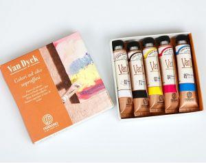 VAN DYCK - Colori ad olio sopraffini - Confezione 5 tubetti da 20 ml - colori Primari + bianco e nero - art. AVD001C0 - Ferrario