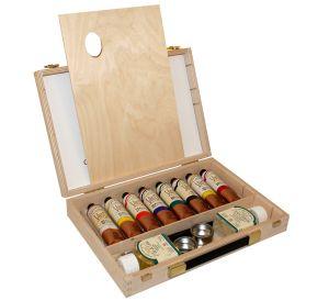 Colori ad olio Sopraffini Van Dyck - Cassetta in legno - 8 Tubetti da 60 ml con Accessori - art. AV0122C0 - Ferrario