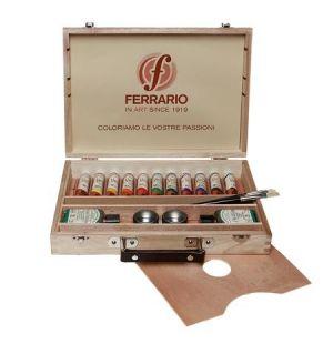 Colori ad olio Van Dyck - Cassetta in legno chiaro - 11 Tubetti da 20 ml con Accessori - art. AV0121C0 - Ferrario