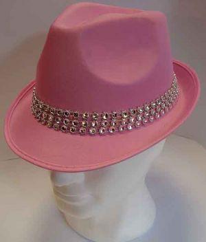 Cappello classico rosa con fascia di Strass