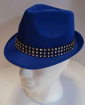 Cappello classico Blu con Fascia di Strass