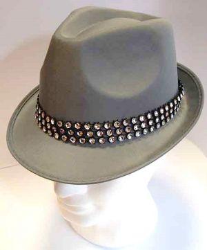 Cappello classico grigio con Fascia di Strass