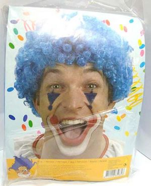 Parrucca Clown Ricci BLU - Accessori Carnevale