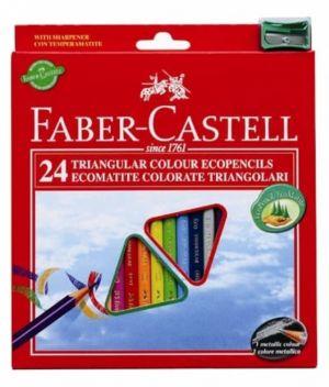 Pastelli Colorati - EcoMatite Colorate Triangolari - Confezione 24 Colori + Temperino - art. 120524EU - 12 05 24 - Faber-Castell