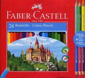 Matite colorate esagonali - confezione 24 pastelli + 3 Matite Bicolore + Temperamatite - art. 11 03 24 - Faber-Castell