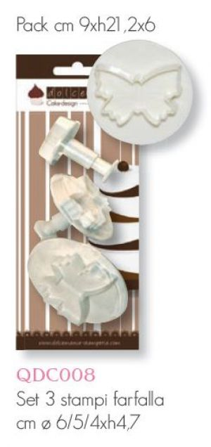 Set 3 Stampi ad espulsione - Farfalla - Butterfly - art. QDC008 - Stamperia