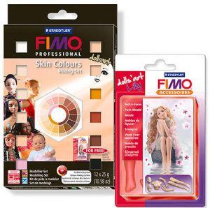 Fimo Professional Skin Colours - Doll Art - Mixing Set - Colori della Pelle + Stampino Lilly per creare bambole - Staedtler