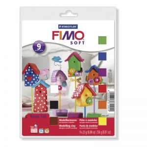Fimo Soft - Basic Set - Pasta Modellabile Fimo Soft - kit 9 Panetti da 25 g +  Vernice Finale + Stampi e Accessori - art. 8023 10 - Staedtler