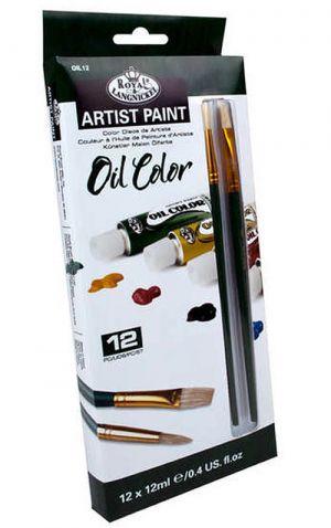 Colori per pittura ad olio Set - 12 X Tubi 12ml con 2 pennelli Royal Langnickel Essential 12pz