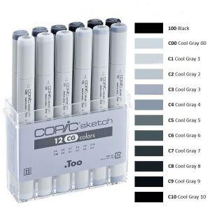 Pennarelli Copic Sketch - 12 CG colors - Set colori C - Grigio Freddo  - art. 21 075 151
