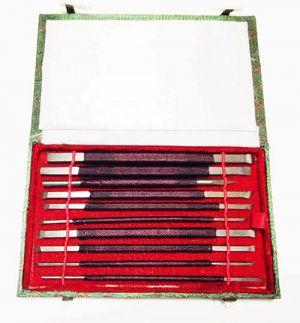 Scalpelli per pietra saponaria e gesso - set da 10 pezzi doppia punta con apposito astuccio - art. 569949 - Vangerow