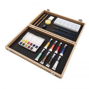Scatola Cofanetto grande in Legno - Colori Acquerello con Accessori - 29 pezzi - Cotman - art. 0392329 - Winsor & Newton