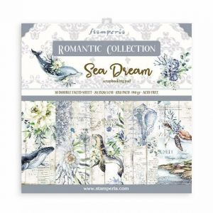 Set Carte Scrapbooking Paper Pack SEA DREAM - Romantic Collection - 10 fogli double faced - 20,3 x 20,3 cm - art. SBBS35 - Stamperia