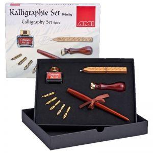 Calligrafia set Cofanetto con cannuccia e pennini 9 pezzi AMI
