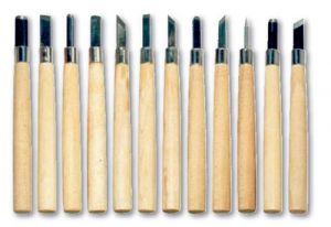 Sgorbie - Utensili Incisione Legno - linoleum - set 12 pezzi Assortiti - art. A15514 - ean 4015014031793