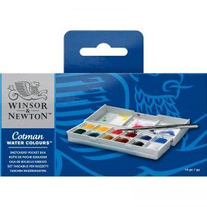 Colori Acquerelli Cotman Watercolor - 12 mezzi godet -  confezione Tascabile con Tavolozza - art. 0390640 - Winsor & Newton