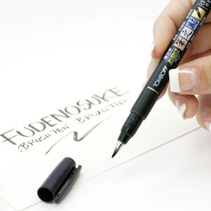 Penna Brush - FUDENOSUKE CALLIGRAPHY SOFT PEN - Punta Morbida - COLORE NERO - art. WS-BS - Tombow